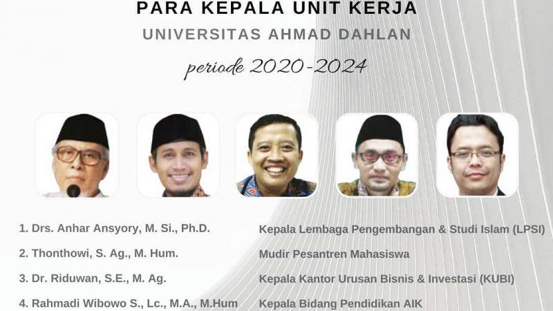 Selamat atas Pelantikan Kepala Unit Kerja 2020-2024