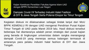 FAI UAD Diskusikan Dampak Covid-19 dan Industri Halal Fashion Bersama BPPK Kementerian Luar Negeri