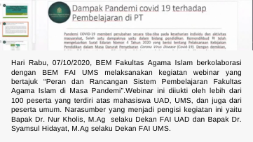 Webinar BEM FAI UAD X BEM FAI UMS