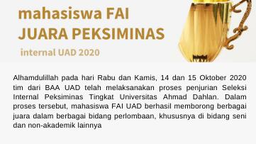 Mahasiswa FAI Borong Juara di Peksiminas UAD 2020