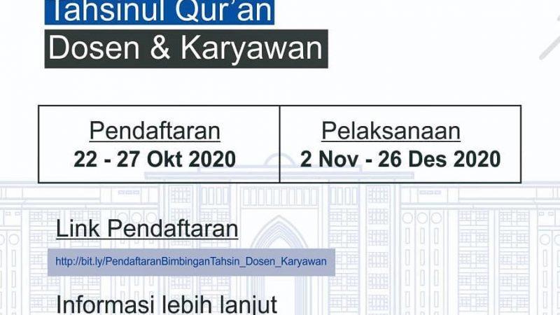 Info Kagiatan: Bimbingan Tahsinul Quran Dosen & Karyawan