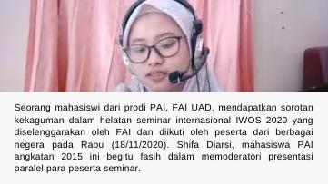 Mahasiswa PAI Luwes Moderatori IWOS 2020