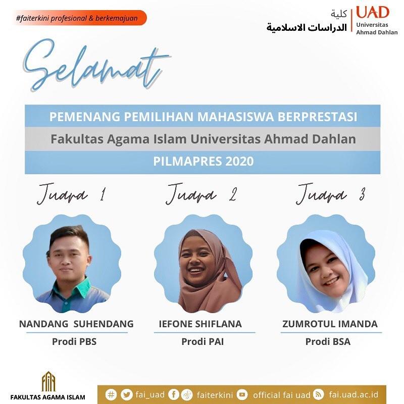 Tiga Mahasiswa FAI Terpilih untuk Mengikuti Pilmapres UAD 2020