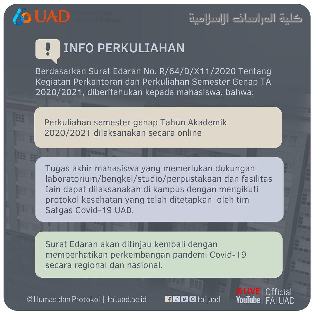 Info Admisi: Edaran Pelaksanaan Perkantoran dan Perkuliahan Semester Genap 2020/2021